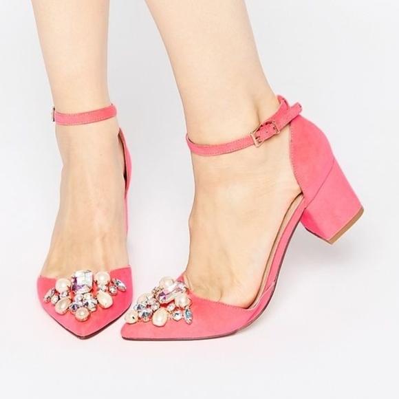 034d49c23e0d ASOS Shoes | Sparkle Pointed Heels Coral Rhinestones Uk 8 | Poshmark
